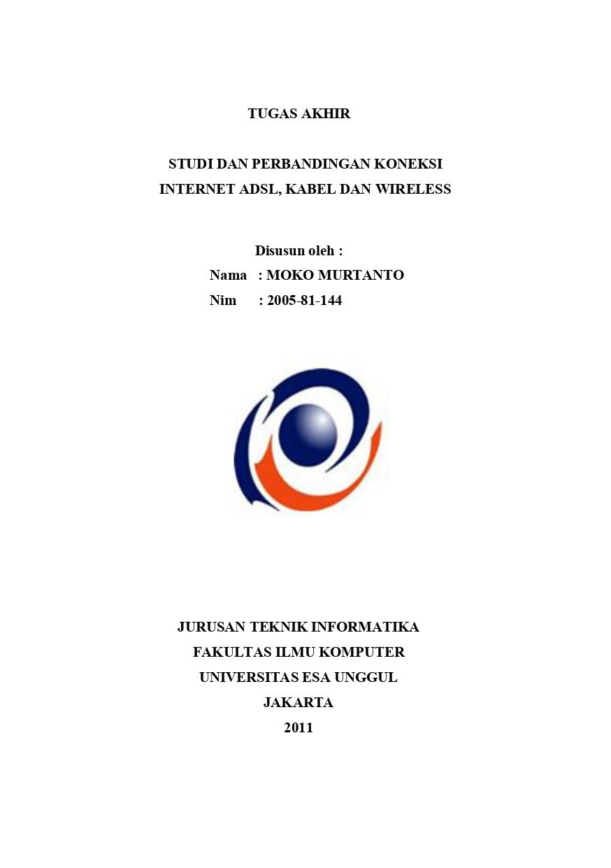 Studi dan Perbandingan Koneksi Internet ADSL, Kabel dan Wirelless