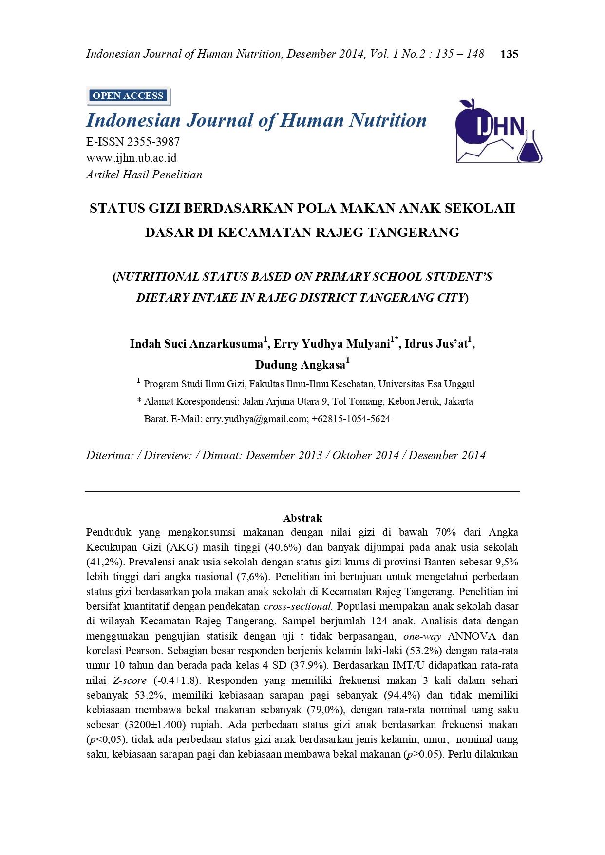 Status Gizi Berdasarkan Pola Makan Anak Sekolah Dasar di Kecamatan Rajeg Tangerang