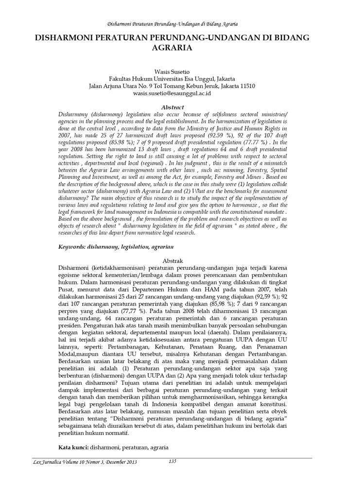 Disharmoni Peraturan Perundang-Undangan di Bidang Agraria