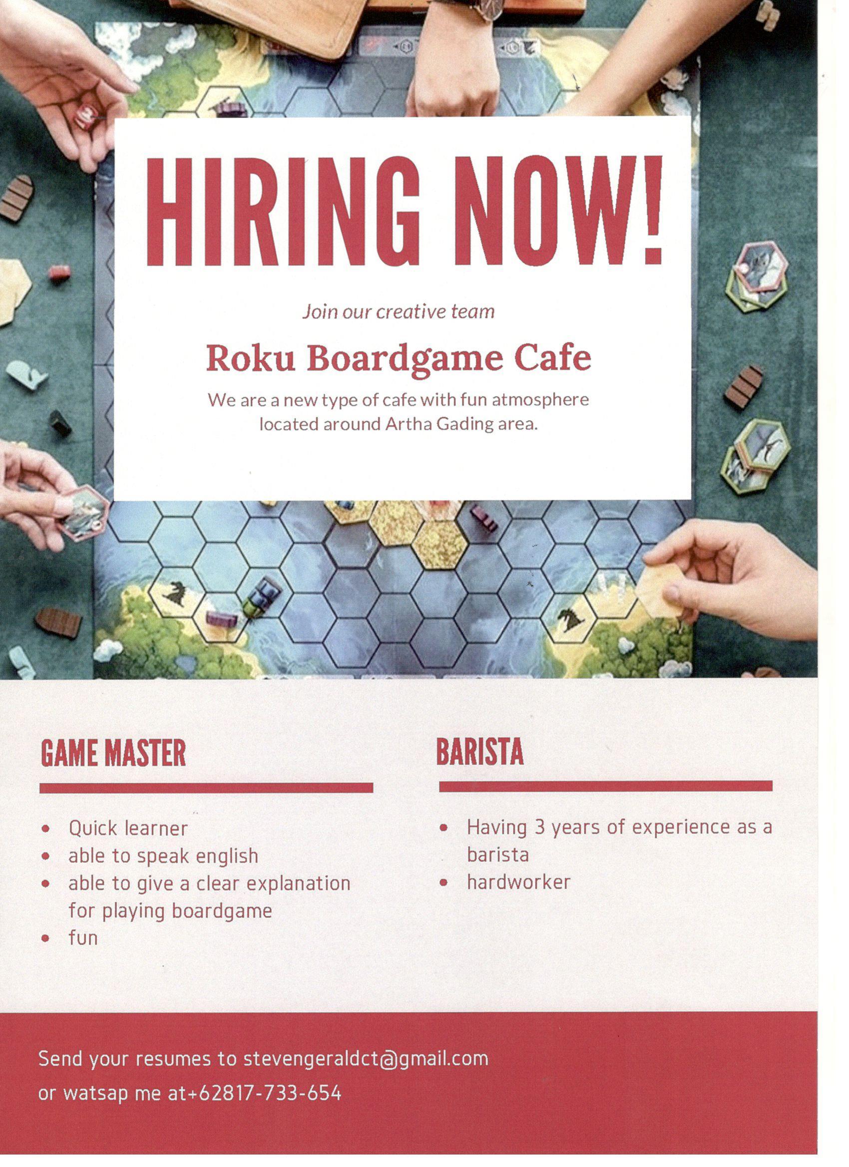 Lowongan Pekerjaan Roku Boardgame Cafe