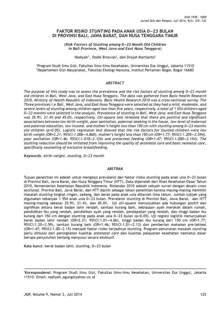 Faktor Risiko Stunting Pada Anak Usia 0—23 Bulan di Provinsi Bali, Jawa Barat, dan Nusa Tenggara Timur