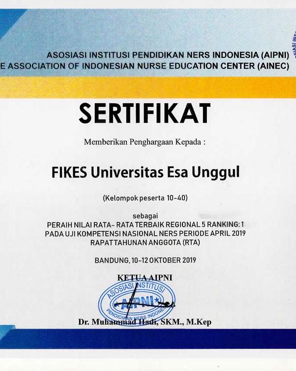 Prodi Keperawatan Universitas Esa Unggul Raih 3 Sertifikat Penghargaan di Uji Kompetensi Ners Indonesia (UKNI)