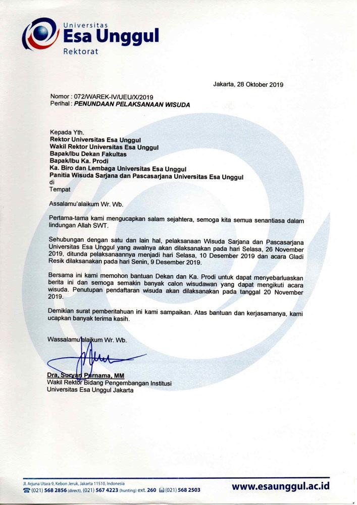 Penundaan Pelaksanaan Wisuda Sarjana dan Pascasarjana November 2019