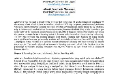 Penggunaan Alat Peraga Dakota untuk Meningkatkan Hasil Belajar Matematika Materi KPK dan FPB pada Siswa Kelas IV Sekolah Dasar Negeri Duri Kepa 03 Jakarta Barat