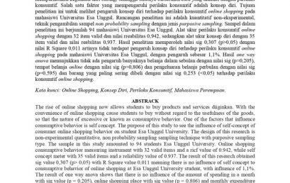 Pengaruh Konsep Diri terhadap Perilaku Konsumtif Online Shopping pada Mahasiswi Pengguna Online Shopping di Universitas Esa Unggul
