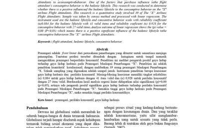 """Pengaruh Gaya Hidup Hedonis terhadap Perilaku Konsumtif pada Pramugari Maskapai Penerbangan """"X"""""""