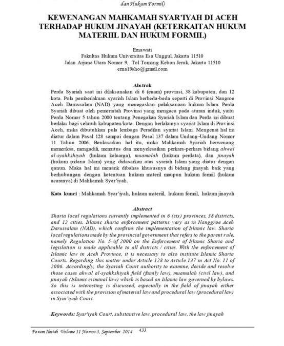 Kewenangan Mahkamah Syar'iyah di Aceh Terhadap  Hukum Jinayah  (Keterkaitan Hukum Materiil dan Hukum Formil)