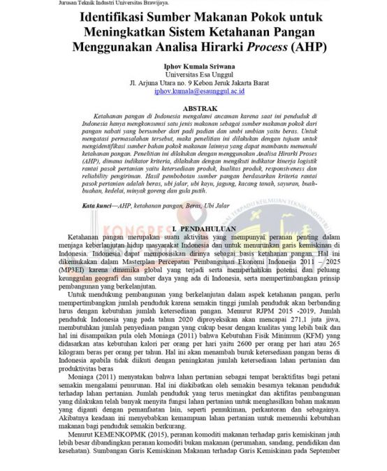 Identifikasi Sumber Makanan Pokok untuk Meningkatkan Sistem Ketahanan Pangan Menggunakan Analisa Hirarki Process (AHP)