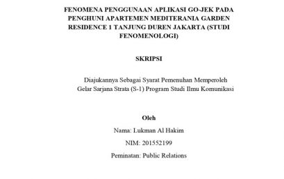 Fenomena Penggunaan Aplikasi Go-Jek Pada Penghuni Apartemen Mediterania Garden Residence 1 Tanjung Duren Jakarta