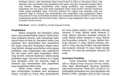 Hubungan Antara SELF-EFFICACY Dengan FOREIGN LANGUAGE LEARNING ANXIETY Pada Mahasiswa Universitas Indonusa Esa Unggul