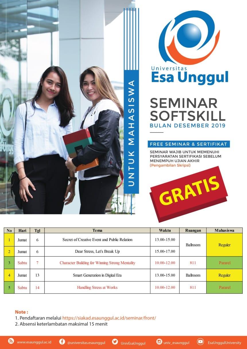 Seminar Soft Skill Universitas Esa Unggul Bulan Desember 2019