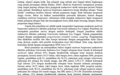 Motivasi Berprestasi Mahasiswa Fakultas Psikologi Universitas Indonusa Esa Unggul
