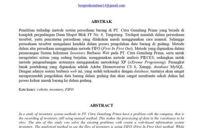 Perancangan Sistem Informasi Inventory Berbasis Web Pada PT. CITRA GEMILANG PRIMA