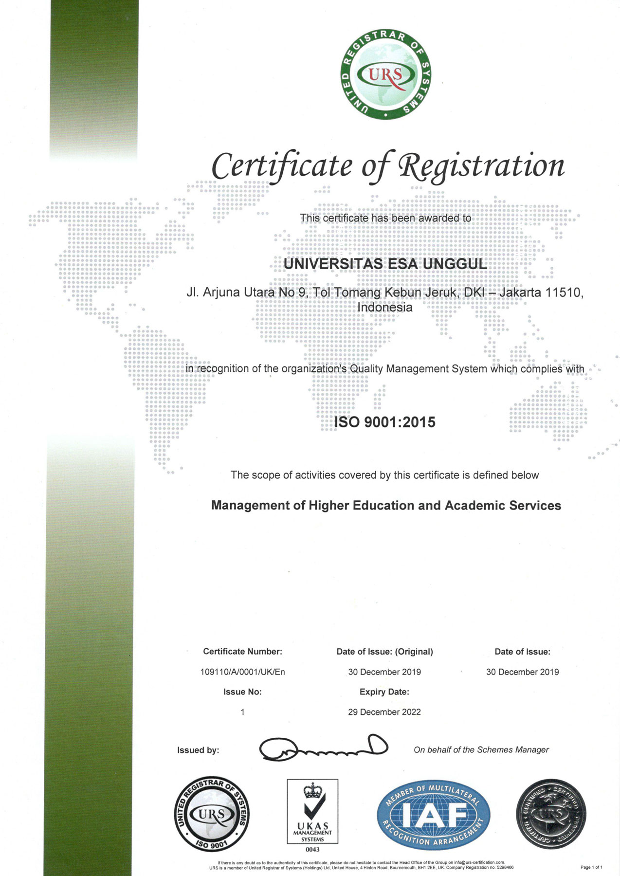 ISO 9001 Certificate : 2015
