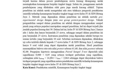 Pengaruh Pendekatan Saintifik Terhadap Kemampuan Berpikir Tingkat Tinggi Siswa Kelas IV di SDN Bitung Jaya 2