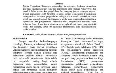 Audit Sistem Informasi Pada Aplikasi Sistem Manajemen Pemeriksaan (SMP) Badan Pemeriksa Keuangan Republik Indonesia