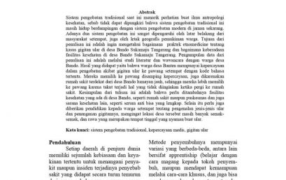 Kepercayaan Medis Masyarakat Desa Bando Kecmatan Sukamaju Tangerang Terhadap Sistem Pengobatan Pada Kasus Gigitan Ular