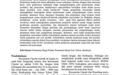 Ipteks Bagi Masyarakat Kelompok Usaha Handycraft, Kecamatan Ciputat dan Pamulang, Kotamadya Tangerang Selatan