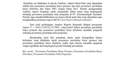 Analisis Pengaruh Biaya Promosi dan Biaya Distribusi terhadap Prosentase Perubahan Nilai Penjualan di PT. Kusumomegah Jayasakti