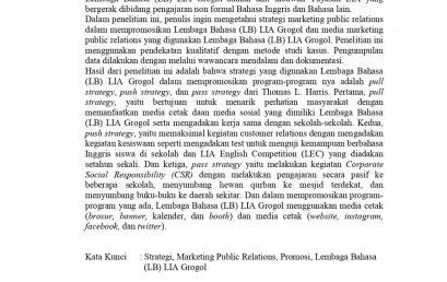 Strategi Marketing Public Relations yang Dilakukan oleh Humas Dalam Mempromosikan Lembaga Bahasa (LB) LIA Grogol
