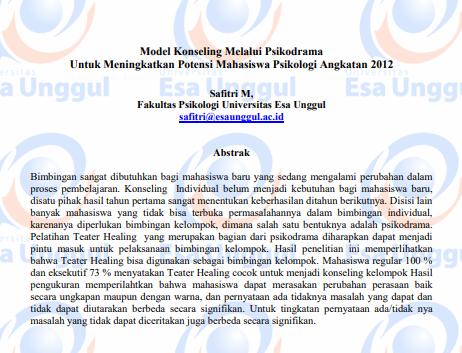 Model Konseling melalui Psikodrama untuk Meningkatkan Potensi Mahasiswa Psikologi Angkatan