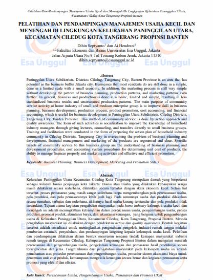 Pelatihan dan Pendampingan Manajemen Usaha Kecil dan Menengah di Lingkungan Kelurahan Paninggilan Utara, Kecamatan Ciledug Kota Tangerang Propinsi Banten