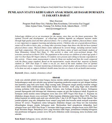 Penilaian Status Kebugaran Anak Sekolah Dasar Duri Kepa 11 Jakarta Barat
