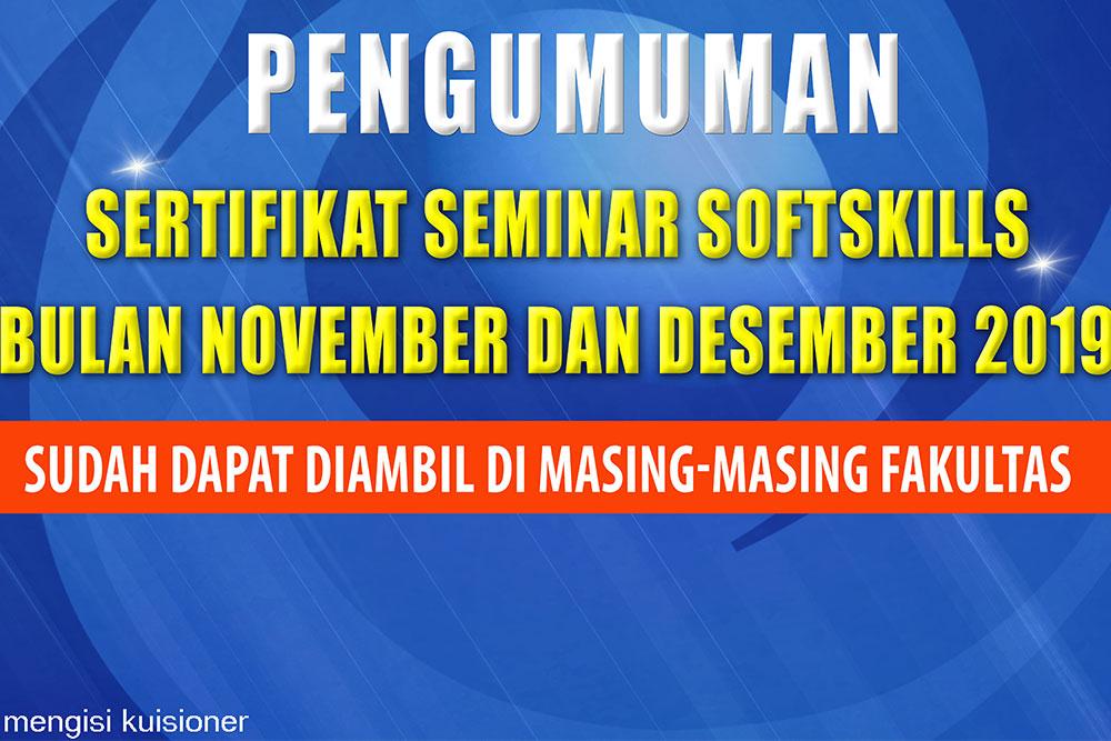 Pengumuman Sertifikat Seminar Softskills Bulan November dan Desember 2019