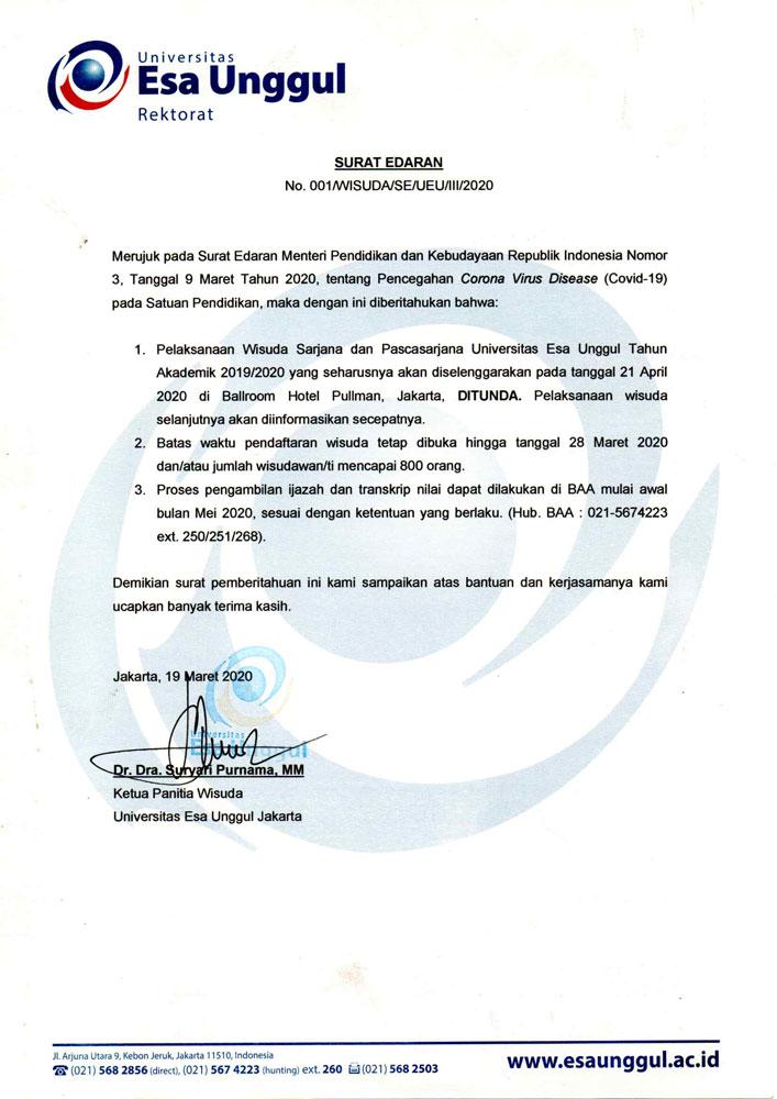 Penundaan Pelaksanaan Wisuda Universitas Esa Unggul April 2020