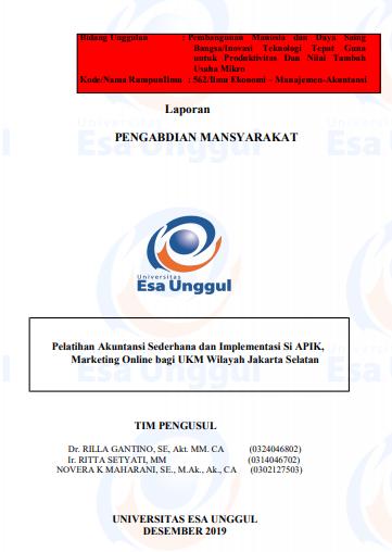 Pelatihan Akuntansi Sederhana Dan Implementasi Si Apik, Marketing Online Bagi Ukm Wilayah Jakarta Selatan