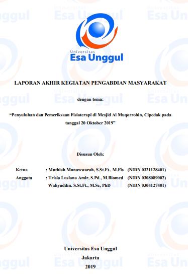 Penyuluhan Dan Pemeriksaan Fisioterapi Di Mesjid Al Muqorrobin, Cipedak Pada Tanggal 20 Oktober 2019