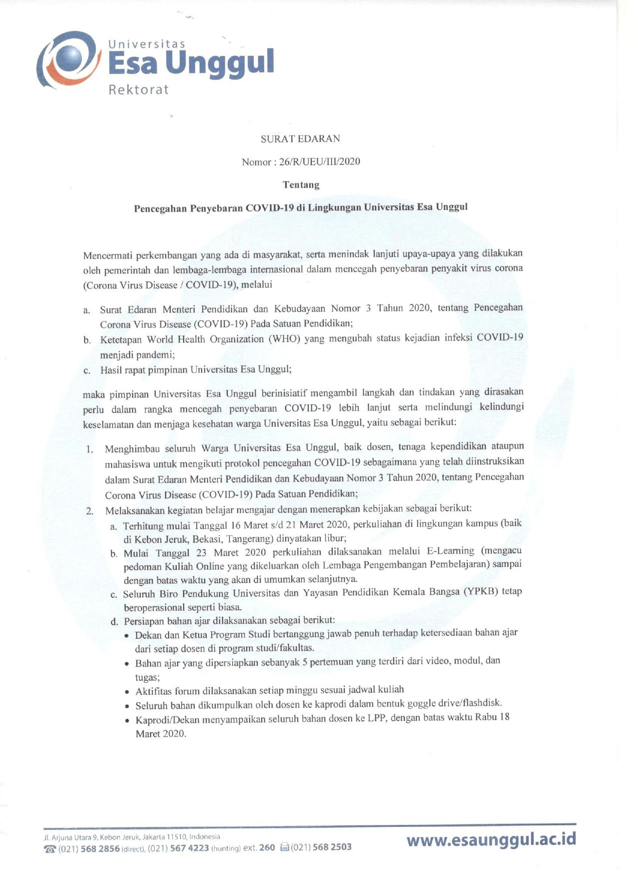 Pencegahan Penyebaran COVID-19 di Lingkungan Universitas Esa Unggul