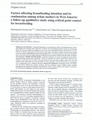Factors Affecting Breastfeeding Intention And Its Continuation Among Urban Mothers In West Jakarta: A Follow-Up Qualitative Study Using Critical Point Contact For Breastfeeding
