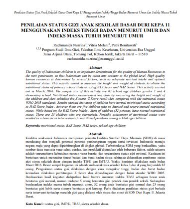 Penilaian Status Gizi Anak Sekolah Dasar Duri Kepa 11 Menggunakan Indeks Tinggi Badan Menurut Umur dan Indeks Massa Tubuh Menurut Umur