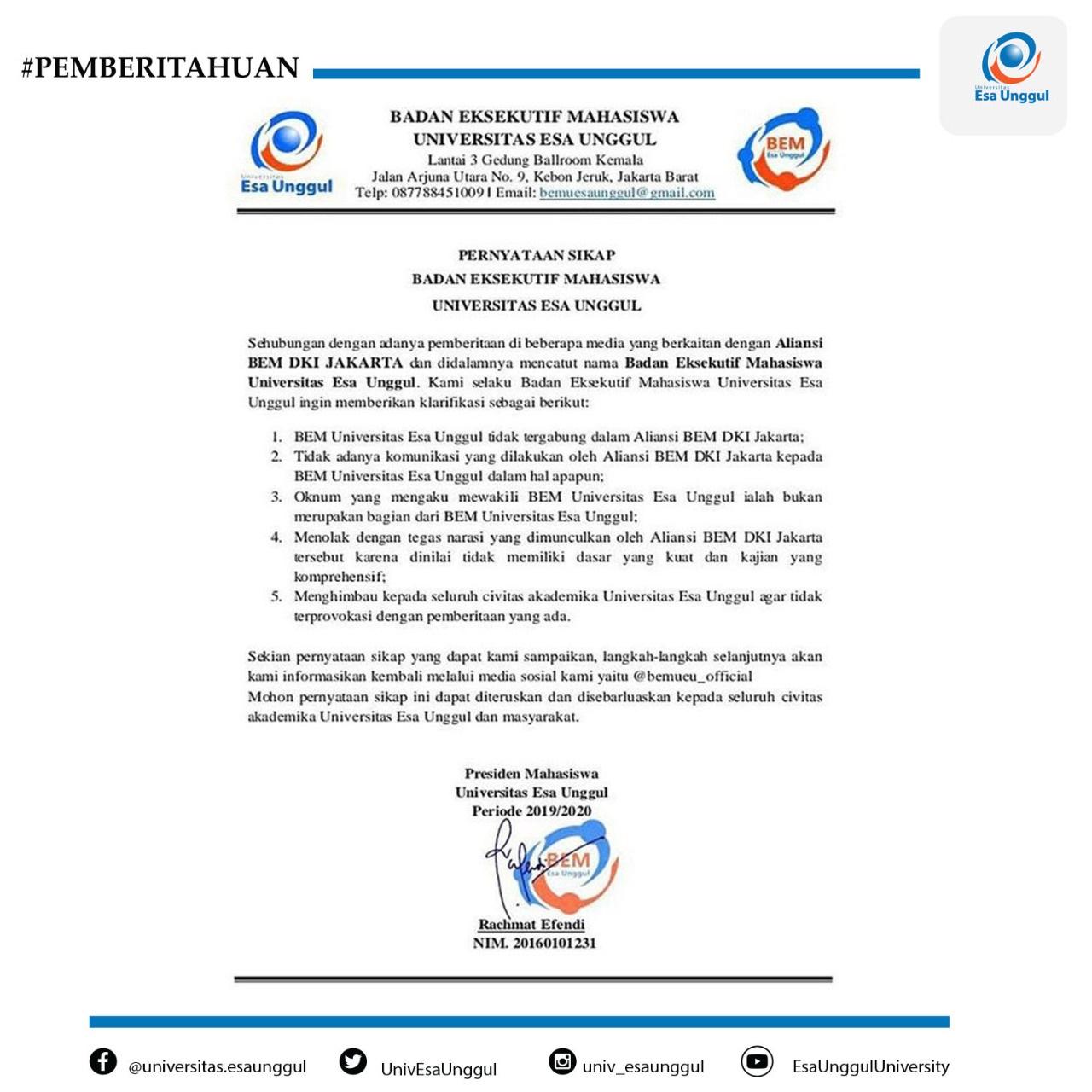Pernyataan Sikap Badan Eksekutif Mahasiswa Universitas Esa Unggul Mengenai Aliansi BEM DKI Jakarta