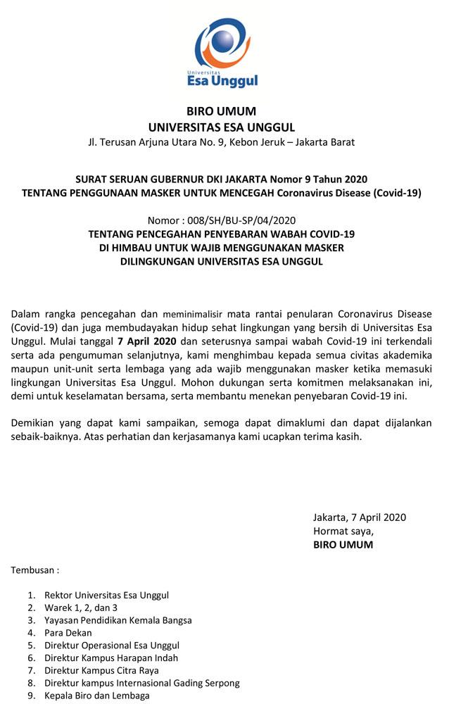Pencegahan Penyebaran Wabah COVID-19 untuk Wajib Menggunakan Masker di Lingkungan Universitas Esa Unggul