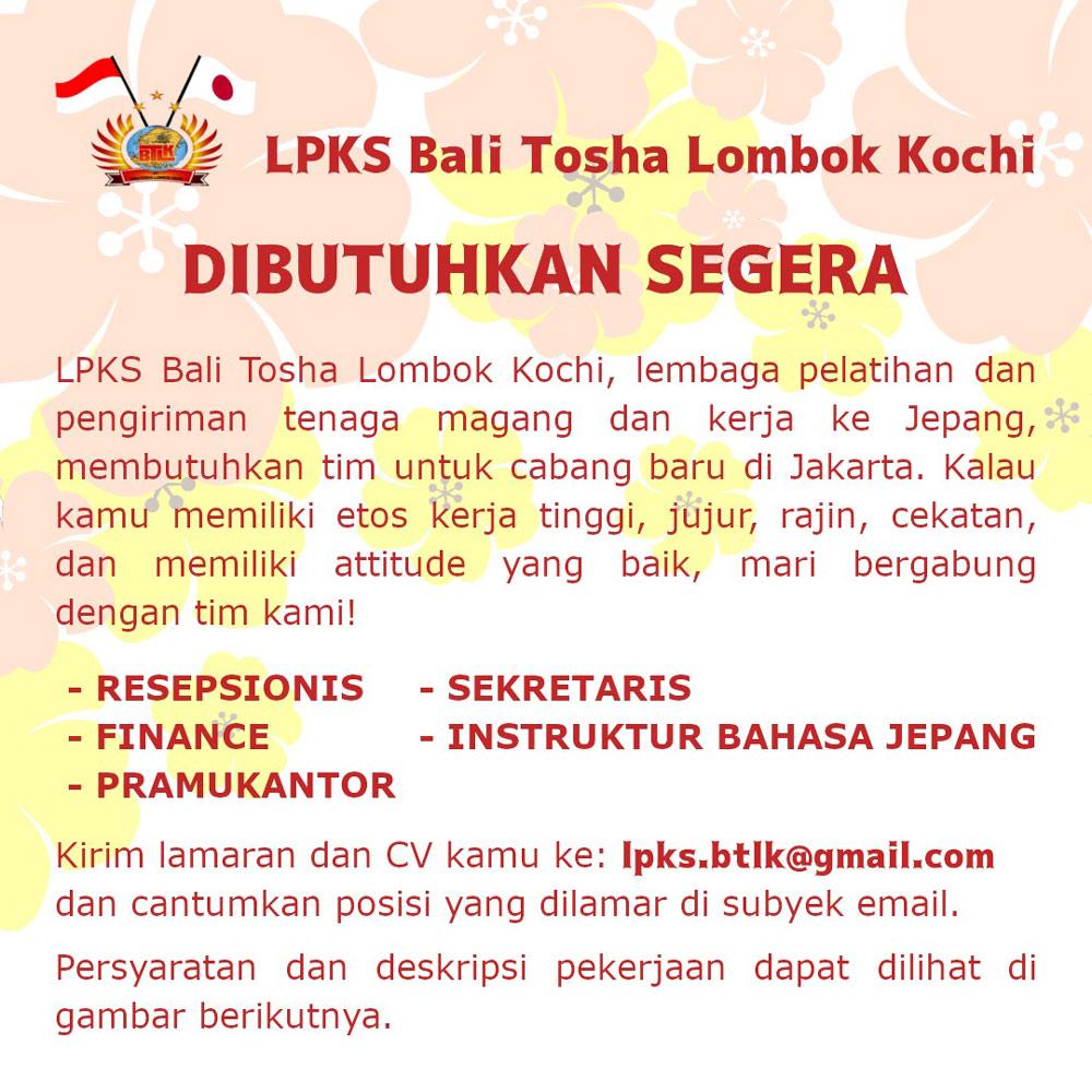 Lowongan Pekerjaan LPKS Bali Tosha Lombok Kochi