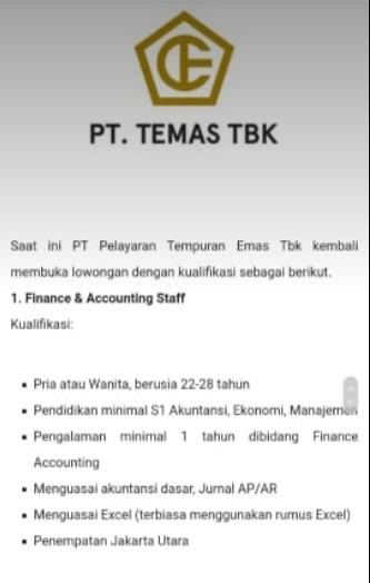 Lowongan Pekerjaan PT. Temas TBK