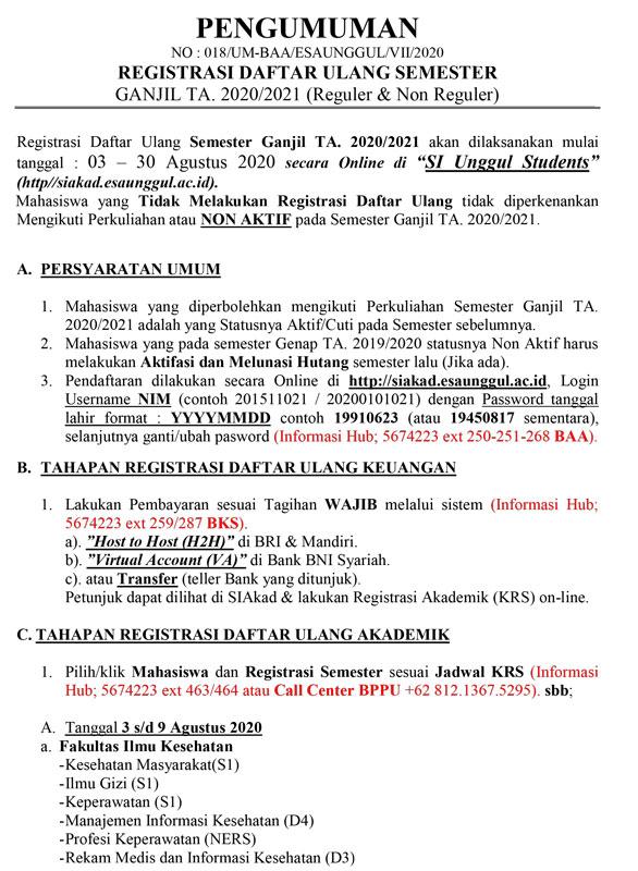 Pengumuman Registrasi Daftar Ulang Semester Ganjil 2020/2021