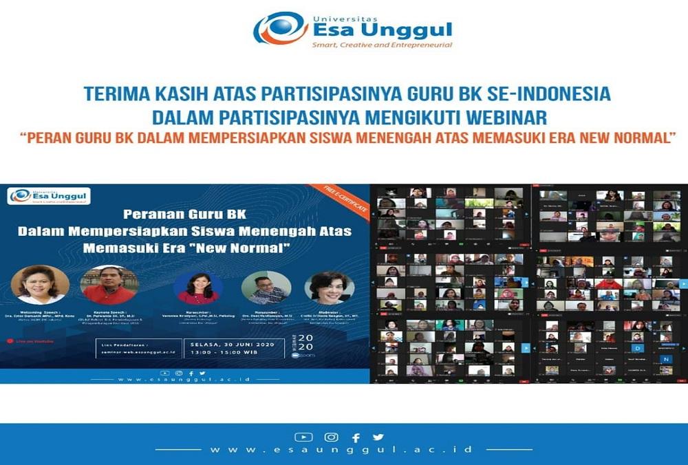 """Guru BK Seluruh Indonesia Ikuti Webinar UEU Bahas Peranan Guru Bimbingan Konseling Dalam Era """"NEW NORMAL"""""""
