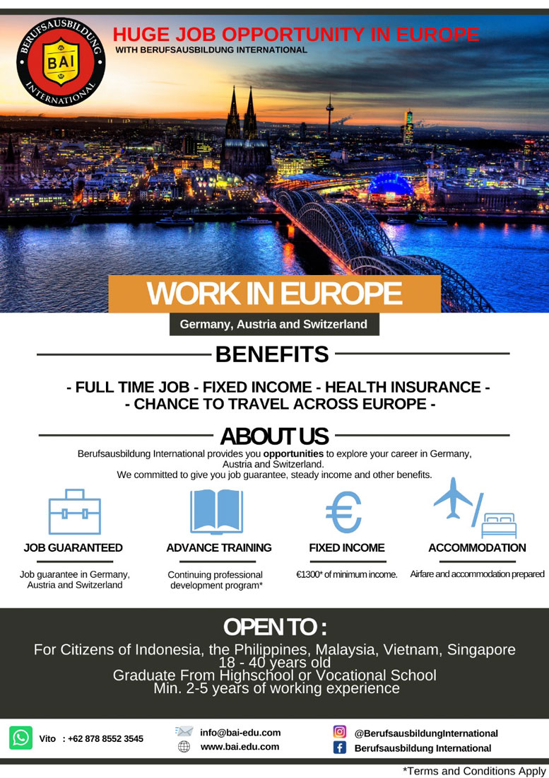 Lowongan Pekerjaan Berufsausbildung International (BAI)