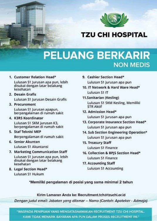Lowongan Pekerjaan Tzu Chi Hospital