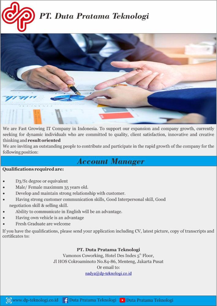 Lowongan Pekerjaan PT. Duta Pratama Teknologi