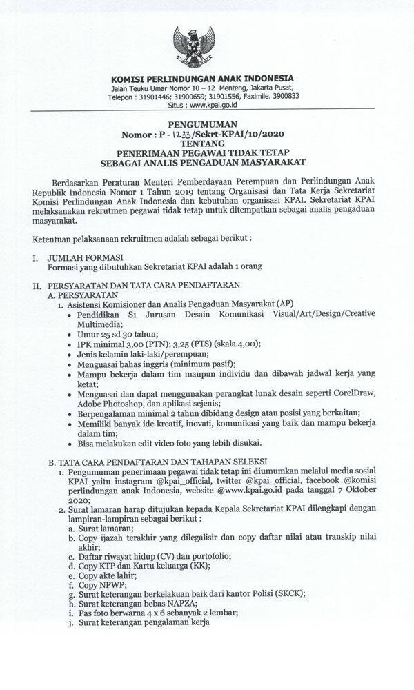 Lowongan Pekerjaan Komisi Perlindungan Anak Indonesia
