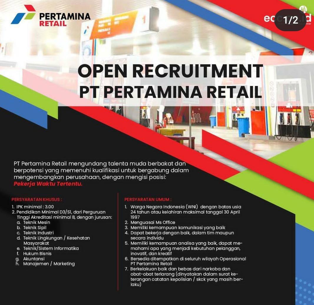 Lowongan Pekerjaan PT Pertamina Retail