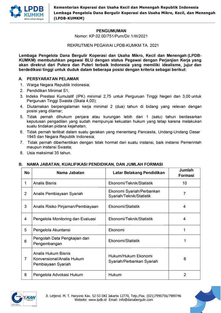 Lowongan Pekerjaan PUM Rekrutmen Pegawai LPDB KUMKM