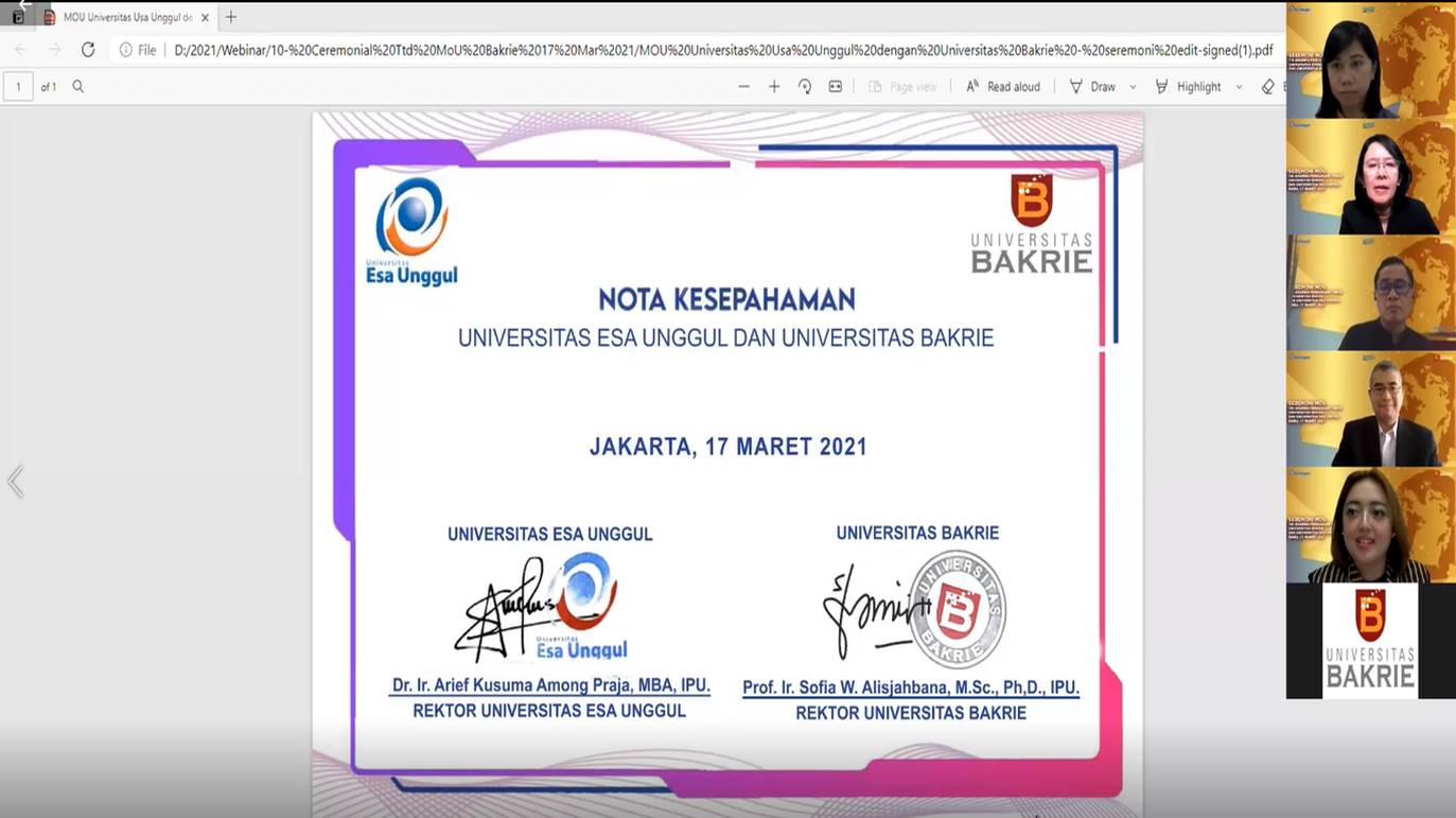 MoU Kerjasama Universitas Bakrie dan UEU